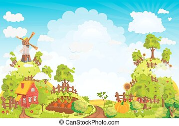 Rural landscape with houses, gardens, a mill, a field, and high hills vector illustration