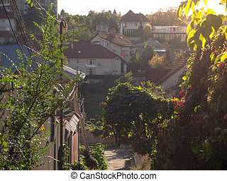 Rural landscape with houses on a hill in the setting sun.