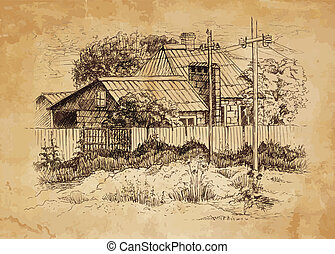 Rural landscape with old farmhouse.