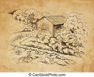 Rural landscape with old farmhouse. Hand drawing...