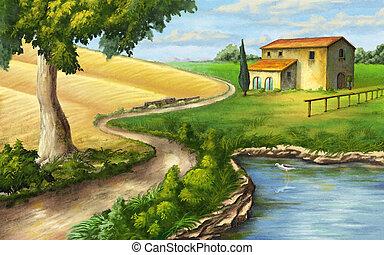 Rural landscape with ranch and pond. Original illustration.