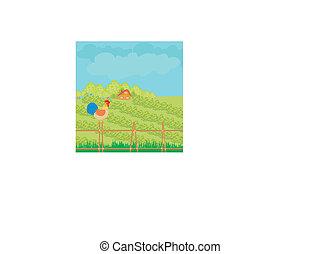 rural landscape with roster
