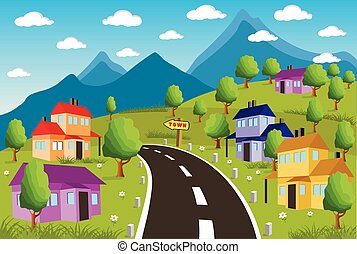 Rural landscape with small town - Ilustration of a little...