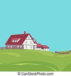 Rural landscape with villa