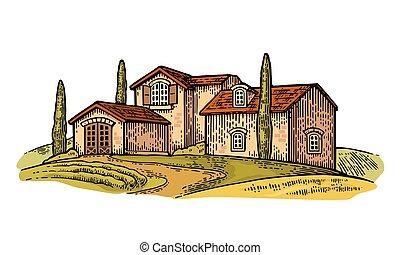Rural landscape with villa, field, tree and farm.
