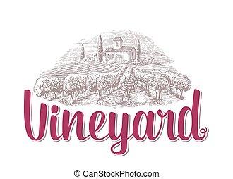 Rural landscape with villa, vineyard fields and hills. Black and white drawn vintage vector illustration for label, poster