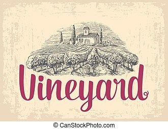Rural landscape with villa, vineyard fields and hills. Vector engraving drawn vintage illustration.