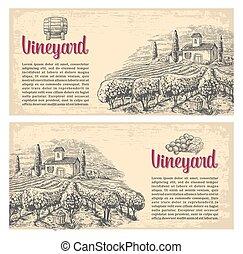 Rural landscape with villa, vineyard fields and hills. Vector engraving drawn vintage illustration. Old paper beige texture background. For label, poster, horizontal banner