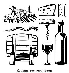Rural landscape with villa, vineyard fields and hills. Bottle, glass, corkscrew, vine, cork, barrel, cheese. Black and white vintage vector illustration for label, poster, web, icon