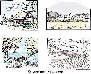 Rural landscapes - Set of rural landscapes. Color vector...