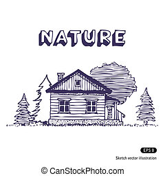 Rural lodge. Hand drawn vector isolated on white
