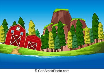rural, nature, maison