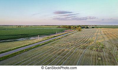 rural Nebraska landscape in aerial view