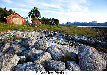 rural, noruega, paisaje