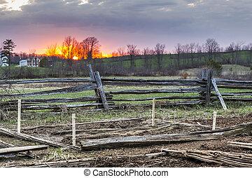 rural, ocaso, vista