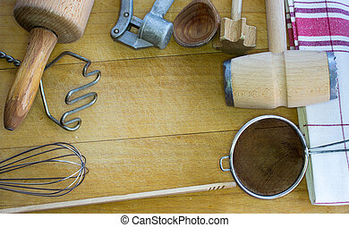 Rural old kitchen utensils with free text space