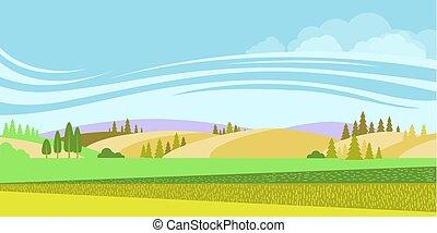 rural, paisagem., fundo, campos, vetorial, natureza