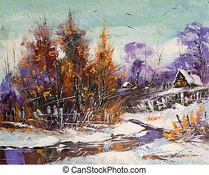 rural, paisagem inverno