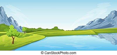 rural, paisagem rio, verão