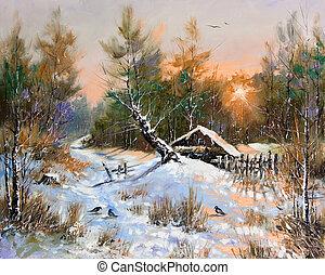 rural, paisaje de invierno