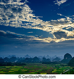 rural, paisaje, en, guilin
