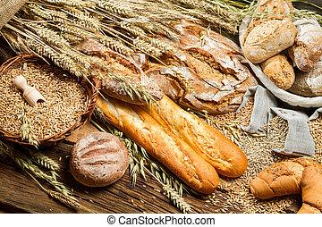 rural, panadero, despensa, con, todos, clases, de, panes