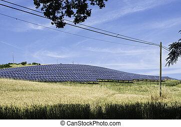 rural, panneaux, solaire