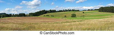 Rural panorama in Carpathian hills