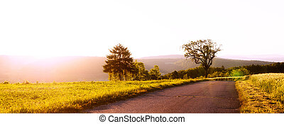 rural panorama with sunrise