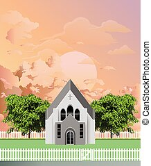 Rural Christian parish church building with white picket fence and gate set against a stunning dawn or dusk sky