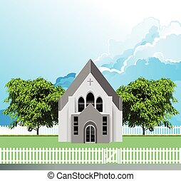 Rural Christian parish church building with white picket fence and gate set against a blue cloudy sky