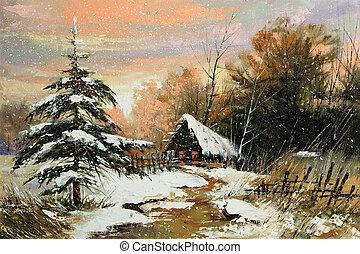 rural, paysage hiver