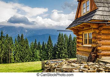 rural, petite maison, dans montagnes