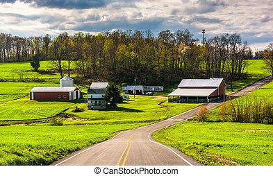 rural, por, camino, pennsylvania., granja, york, condado, país