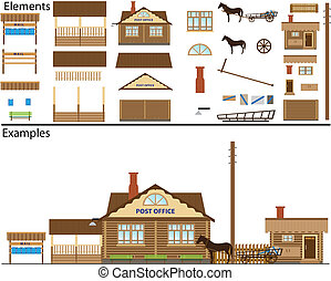 Rural post office. - The file contains elements for drawing...
