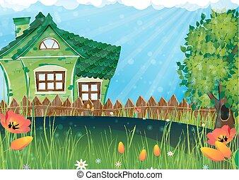 rural, pradera, casa