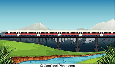 rural, rail, paysage