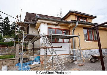 rural, reparado, casa