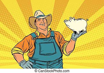 Rural retro farmer with a pig-piggy Bank