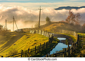 rural road among the wooden fences in morning fog