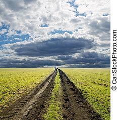 rural road in green field under dramatic sky