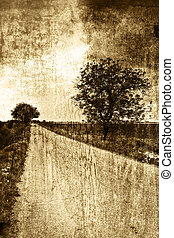 Rural road in sepia vintage style - Countryside landscape -...