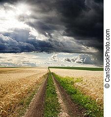 rural road under dramatic sky