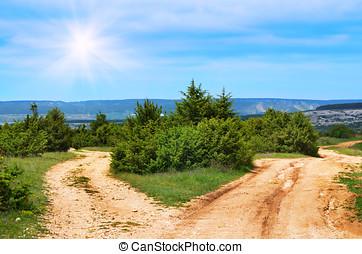 Rural road under the blue  sky
