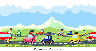 Rural road meandering through the mountains with a line of tourist traffic with colorful cartoon cars with luggage on their roofs backed up bumper to bumper seamless vector pattern