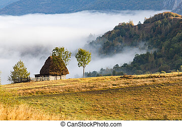 rural Romania beautiful foggy morning landscape in Apuseni mountains