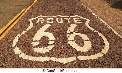 Rural Route 66 Two Lane Historic Highway Cracked Asphalt -...