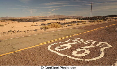 Rural Route 66 Two Lane Historic Highway Cracked Asphalt -...