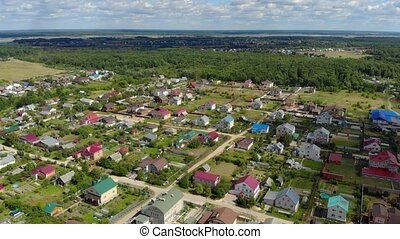 Rural Russian town, from an aerial perspective. 4k stock ...