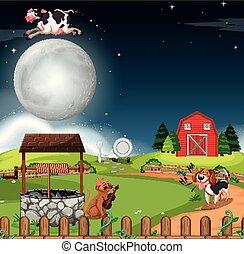 Rural scene at night